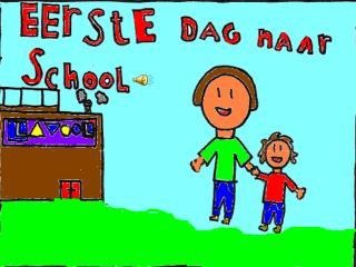 Yes mama mijn eerste dag naar school.  Ja je mag naar juf Mieke