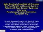 Major Bleeding is Associated with Increased One-Year Mortality and Ischemic Events in Patients with Acute Coronary Syndr