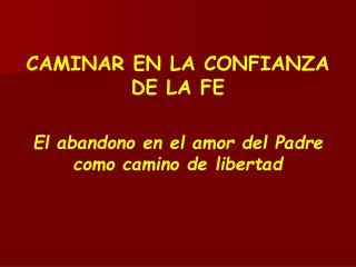 CAMINAR EN LA CONFIANZA DE LA FE El abandono en el amor del Padre como camino de libertad