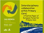 Interdisciplinary collaboration within Primary Care