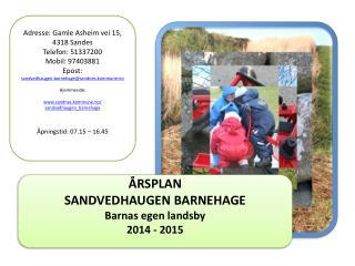 ÅRSPLAN  SANDVEDHAUGEN BARNEHAGE  Barnas egen landsby 2014 - 2015