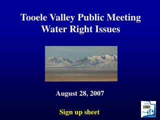 Tooele Valley Public Meeting Water Right Issues