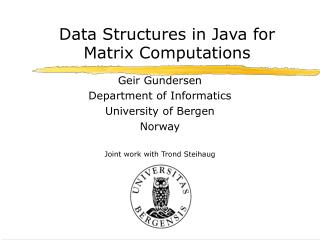 Data Structures in Java for Matrix Computations