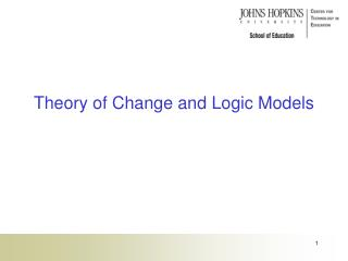 Theory of Change and Logic Models