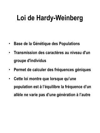Loi de Hardy-Weinberg