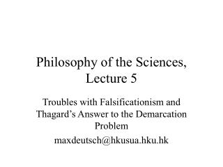 Philosophy of the Sciences, Lecture 5