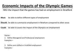Economic Impacts of the Olympic Games