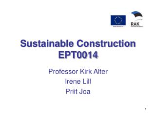 Sustainable Construction EPT0014