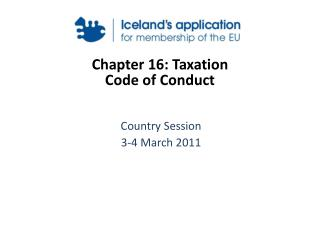 Chapter 16: Taxation  Code of Conduct