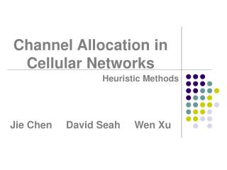 Channel Allocation in Cellular Networks