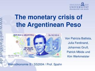 The monetary crisis of the Argentinean Peso