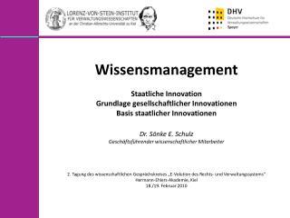Wissensmanagement  Staatliche Innovation Grundlage gesellschaftlicher Innovationen
