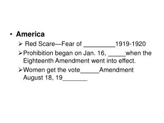 America Red Scare—Fear of  1919-1920