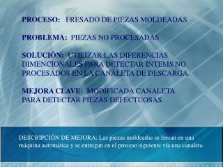 PROCESO:    FRESADO DE PIEZAS MOLDEADAS PROBLEMA:   PIEZAS NO PROCESADAS