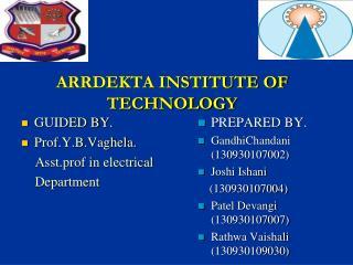 ARRDEKTA INSTITUTE OF TECHNOLOGY