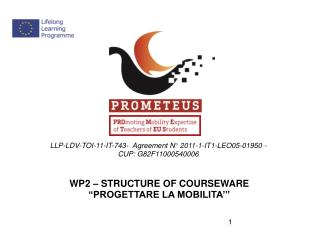 "WP2 – STRUCTURE OF COURSEWARE  ""PROGETTARE LA MOBILITA'"""