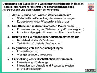 Umsetzung der Europäische Wasserrahmenrichtlinie in Hessen