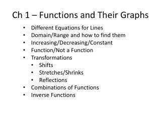 Ch 1 � Functions and Their Graphs