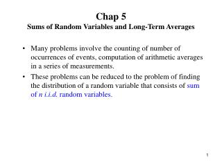 Chap 5 Sums of Random Variables and Long-Term Averages