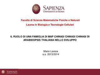 Facoltà di Scienze Matematiche Fisiche e Naturali Laurea in Biologia e Tecnologie Cellulari