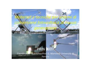 Materiali e tecniche per sistemi di conversione fotovoltaica di nuova generazione