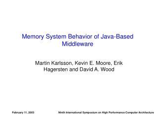 Memory System Behavior of Java-Based Middleware