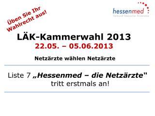LÄK-Kammerwahl 2013 22.05. – 05.06.2013  Netzärzte wählen Netzärzte