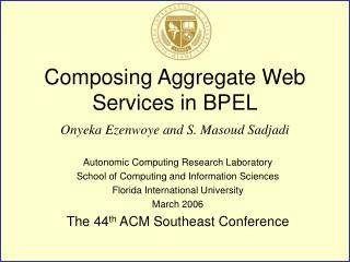 Composing Aggregate Web Services in BPEL