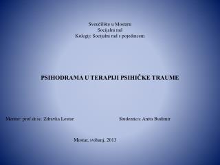 Mentor: prof.dr.sc. Zdravka Leutar                                     Studentica: Anita Budimir