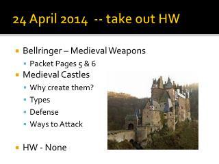24 April 2014  -- take out HW