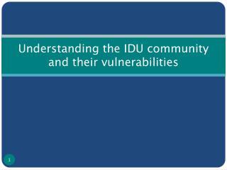 Understanding the IDU community and their vulnerabilities