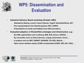 WP5: Dissemination and Evaluation