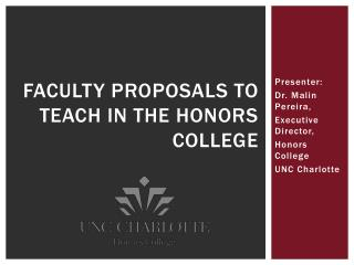 Faculty Proposals to Teach in the Honors College