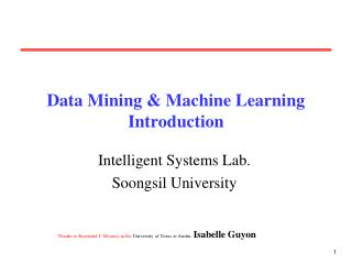Data Mining & Machine Learning Introduction