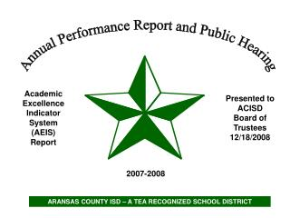 Academic Excellence Indicator System AEIS Report