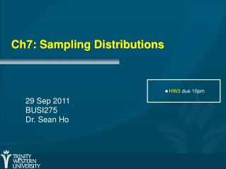 Ch7: Sampling Distributions