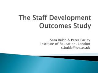 The  Staff Development Outcomes Study