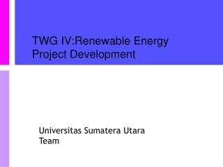 TWG IV:Renewable Energy Project Development