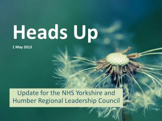 Heads Up 1 May 2013