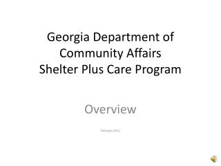 Georgia Department of Community Affairs Shelter Plus Care Program