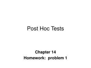 Post Hoc Tests
