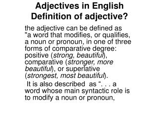 Adjectives in English Definition of adjective