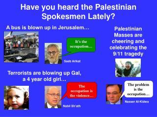 Have you heard the Palestinian Spokesmen Lately