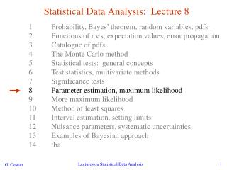 Statistical Data Analysis:  Lecture 8
