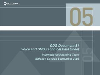 CDG Document 81 Voice and SMS Technical Data Sheet