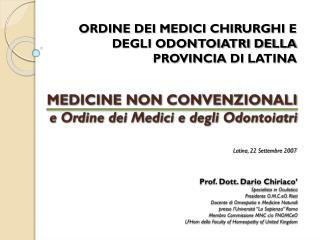 MEDICINE NON CONVENZIONALI e Ordine dei Medici e degli Odontoiatri