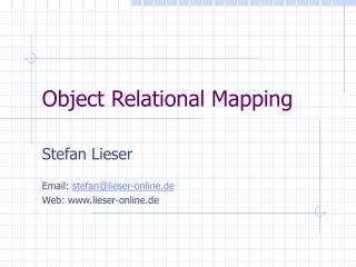 Object Relational Mapping