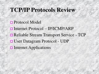 TCP/IP Protocols Review