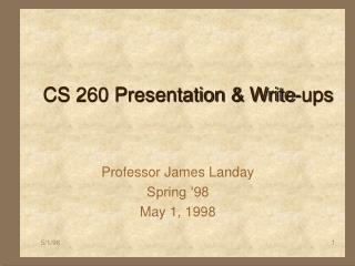 CS 260 Presentation & Write-ups