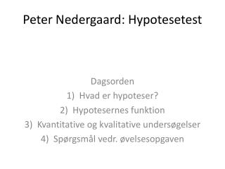 Peter Nedergaard: Hypotesetest